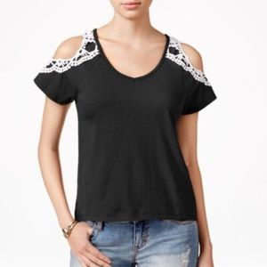 Almost Famous Crocheted Cold Shoulder Blouse Top